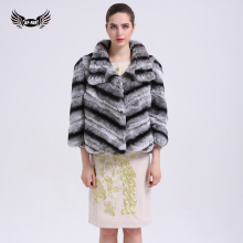 BFFUR Real Rex Rabbit Fur Coat Natural Chinchilla Color Classic Quality Fur Coats for Women Warm Chinchilla Fur Coat BF-C0012(China)