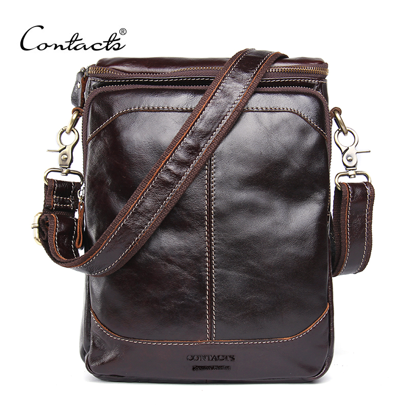 CONTACTS HOT!! 2018 Genuine Leather Bags Men High Quality Messenger Bags Small Travel Dark Brown Crossbody Shoulder Bag For Men<br>