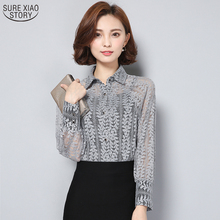 Buy New 2017 Fashion Long Sleeved Chiffon Female Slim Shirt Korean Hollow Women Blouse Spring Autumn Women Clothing 820A 25 for $12.56 in AliExpress store