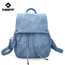 DOLOVE 2017 College Wind Shoulder Bag Women Bag PU Leather Women's Travel Bag Soft Purple Solid Fashion Women's Backpack