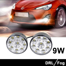 2PCS 12 V  9 W 9 LED Round Light Waterproof Daytime Running Light DRL Driving Car Styling &Wholesale