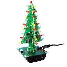 1 Set 3D Christmas Trees LED DIY Kit Professional Red Green Flash LED Circuit