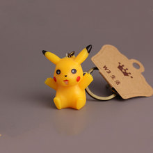 1pc Pikachu Keychain Cartoon Pokemon Pocket Monster Ornaments Key Chain Keyrings PVC Figure Toy Dolls Keychain Christmas Gift