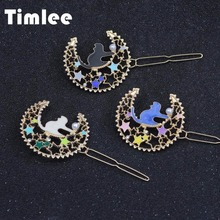Buy Timlee H024 Cute Fashion Cat Temperament Imitation Pearl Bright Stars Moon Metal Hair Clip hair accessory wholesale for $1.40 in AliExpress store