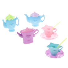 New 9pcs/ Set Mini Dolls Tableware Set Afternoon Tea Accessory for Doll Kitchen Accessories Gift Kid's Early Learning Education
