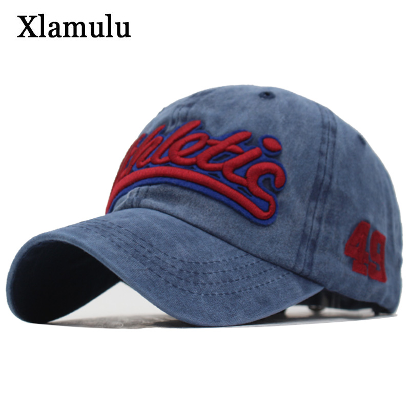Xlamulu Washed Cotton Men Baseball Cap Snapback Hats For Women Embroidery Baseball Hat Letter Bone Gorras Casquette Male Cap