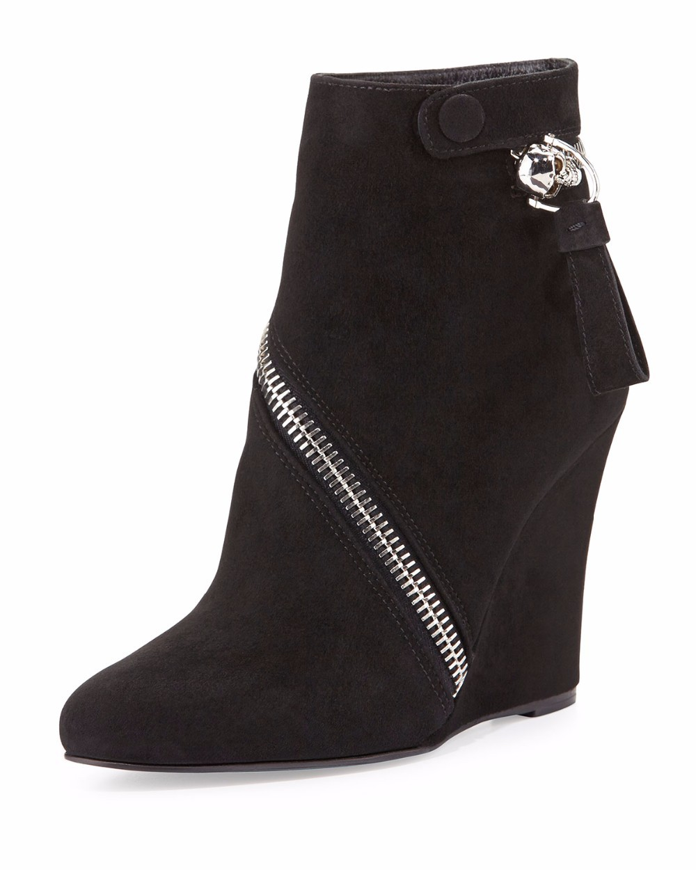 a2bc1b73433b 2018 New Fashion Women Button Buckle Strap Wedges Ankle Boots Concise  Zipper High Heel Shoes Booties Black. LISSE 1 1 2 3 4