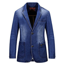 New 2017 Spring Mens Brand Clothing Denim Blazer Jacket Plus Size M~3XL Blue Jean Coat Slim Fit Casual Overcoat Cotton Blazer