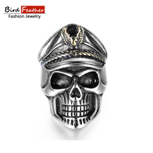 Bird Feather Stainless Steel Men Rings Officer Skull Titanium Rings for Women Vintage Punk Fashion Jewelry Woman Wedding Ring(China)
