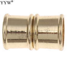 Brass Magnetic Clasp magnetic clasps for leather bracelet findings /gold color platedmagnet closure 10pcs/lot 19x12mm(China)