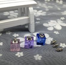 20pcs/lot Mini Square shape rice art pendant glass vial wshing bottle, Name on rice perfume jewelry Crystal oil necklace gifts