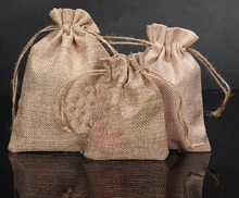 2015 Wholesale 5000pcs 15x20cm Jute Burlap drawstring Favor Bags for candles handmade soap wedding