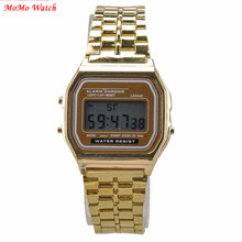 Fashion Gold Silver Watches Men Vintage Watch Electronic Digital Display Retro style Watch(China)