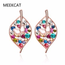 MEEKCAT Rose Gold Color Multicolor Leaf with Butterfly Stud Earrings with Colorful Zircon For Girlfriend Gift Luxury Bijouterie