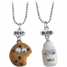2pcs/set BEST BUDS Miniature Cookies Biscuit Milk Pendant Necklaces BFF Friendship Creative Jewelry Christmas Gift Birthday