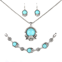 Parabola Leaf Flower Round Created Turquoises Jewelry Sets Pendant Earrings Bracelets Necklace Silver Color for Women ZSS0013