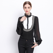 70% Silk Blouse Women Shirt Lightweight Fabric Stand Patch Diamond Lantern Sleeves Formal Tops Elegant Style New Fashion 2017