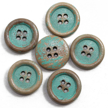 ZIEENE 1000PCs Natural Wood Round Piping Edging Wooden Buttons 15mm Green DIY Sewing Scrapbooking Handmade Shabby Frayed 4 Holes