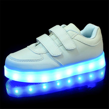 2017 New Kids Boys Girls USB Charger Led Light Shoes Luminous Sneakers Casual Sport Children Shoes With Light Led Sneaker Girls