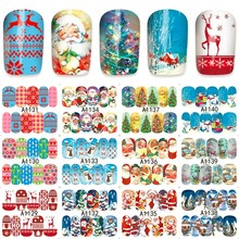 12 sheets water decal nail art nail sticker slider tattoo full Cover Christmas Santa Claus snowman style decals A1129-1140(China)