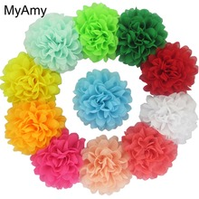 MyAmy 400pcs/lot 4.5'' Alternative Chiffon Hair Flowers WITHOUT Clips For Kid Hair DIY Garment Accessories EMS Free Shipping