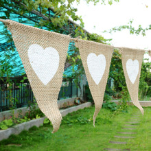 12pc/Chain Simple Linen Heart Form Pennant Flag Banner Wedding Church Xmas Decor Event Supplies Lace Raw Jute DIY Decoration