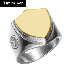Timmilyar New Product Stainless Steel Shield Ring Men Gold Color Ring European Popular Jewelry Accessories Dropship(China)