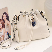 New vintage casual British style Drawstring women's Spring Summer Bucket bag retro one shoulder bag girl Messenger Bag