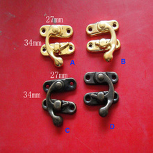 10 Sets/lot Decorative Antique Metal Padlock Hasp Lock Wooden Jewelry Box Latch Purse Clasp Lock 27*34mm Free Shipping