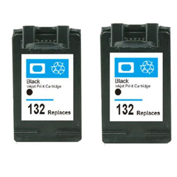 2pcs printer cartridge for hp 132 black in Cartridge for hp Officejet 6213 Deskjet 5443 D4163 Photosmart 2573 3183 5163<br><br>Aliexpress