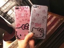 Soft TPU Silicone Case hello kitty Back cover For iphone 6 6S Plus 7 7 Plus Bling Glitter Powder Shine Cell Phone Case