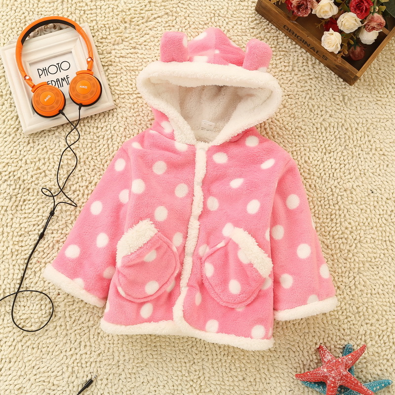 Hot!New Winter Girls Jacket  Kids Outwear Thick Cute Dot Print Coat Sweet Cotton-Padded Clothes Flannel Childrens Coat ClothingОдежда и ак�е��уары<br><br><br>Aliexpress