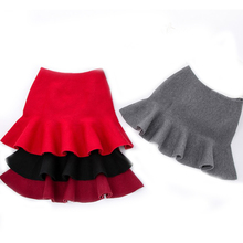 DZIECKO Skirts For Girls Autumn & Winter 2017 Solid Knitted Kids Skirt Casual Baby Skirts Children Clothings Korean Style