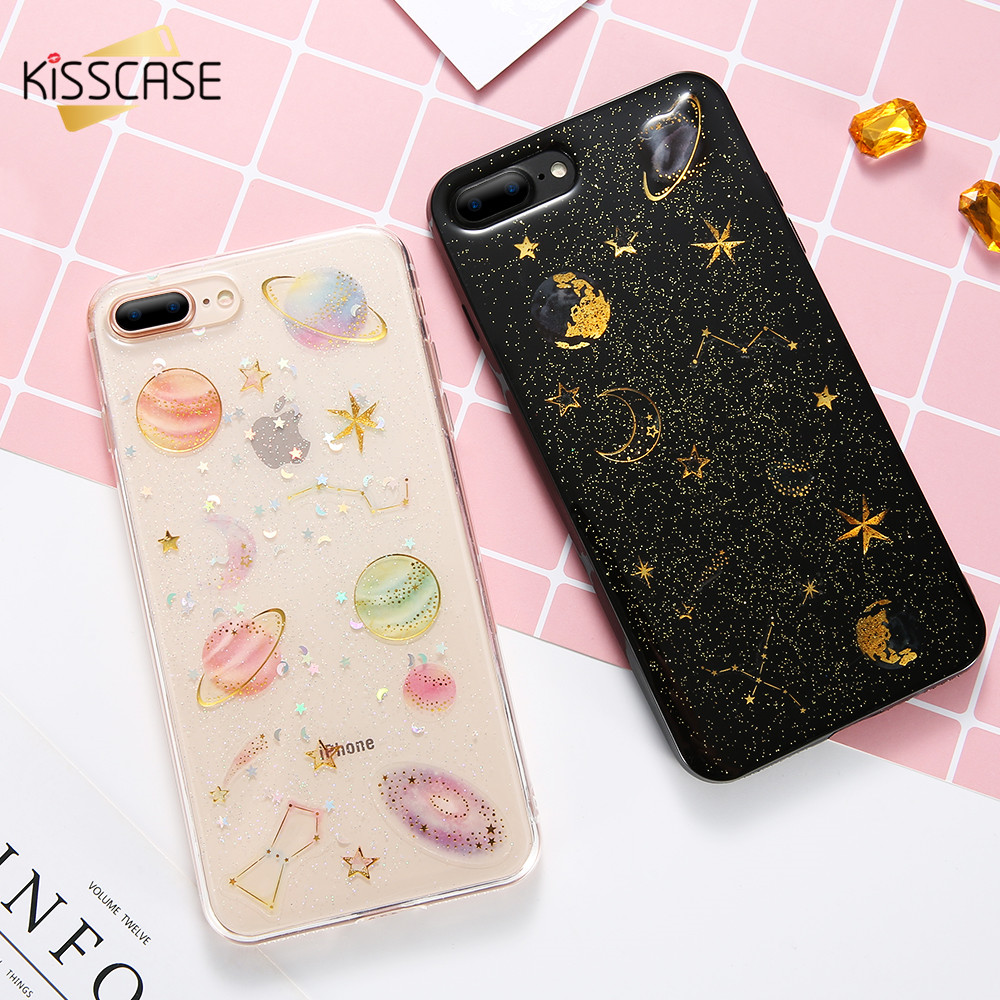 KISSCASE Glitter Phone Cases iPhone 7 8 Plus Case Silicone Soft Lovely Constellation Heart Case iPhone X 5 5S 6 6s Plus