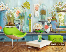 Custom 3d vintage floral wallpaper mural daffodils in vase butterfly tv sofa bedroom living room cafe bar restaurant background