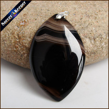 Fashion Women Man Necklace Pendant Natural Black Botswana Agates Stone Pendants Slide Healing Crystals for Jewelry Making JS485