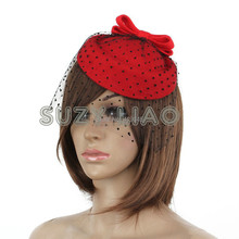 NEW Lady Girl Fascinator Pillbox Felt Wool Hat Hair Clip Formal Dress Bowknot Veil Hat Fascinator Hair Clip Accessory Flower Cap