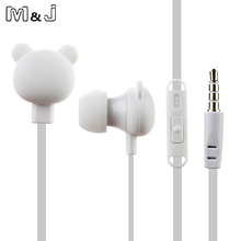 M&J Cartoon Cute Earphone 3.5mm In Ear Wired Headset With Mic Remote Bear Earpod For iPhone Samsung Huawei xiaomi Birthday Gift