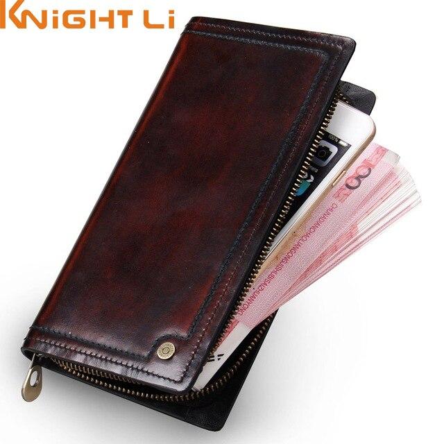 Men Clutch Wallet 100% Genuine Leather Wallet Men Handmade Zipper Around Purse Brushoff Leather Cluch Bag Phone<br>