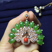 fine jewelry 41*46mm wonderful gift special price real 925 sterling silver Russia green jade pendant for women(China)