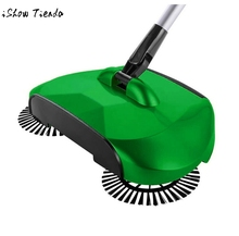 mops 360 Rotary Home Use Magic Manual Telescopic Floor Dust Sweeper Green color Hand push broom mop for home hotel cleaning(China)