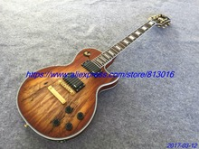 Electric guitar Hot Sale LP custom spalted flame transparent brown,gold parts,no pickguard,free shipping!