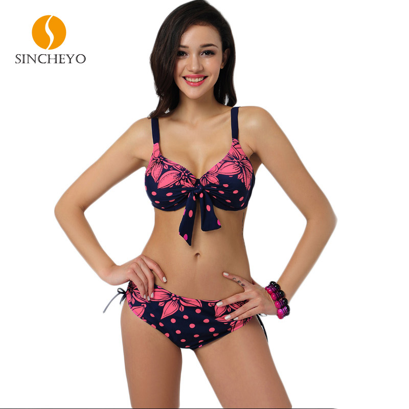 2017 High Quality Bathing Suit Women Push Up Sexy Swimsuit with Floral and Dot Printing and Drawstring Design<br><br>Aliexpress