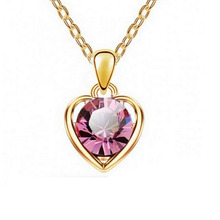 Charming Jewellery Accessories Heart Shape Austria Crystal Jewelry Pendant Necklace For Women Bridal Wedding
