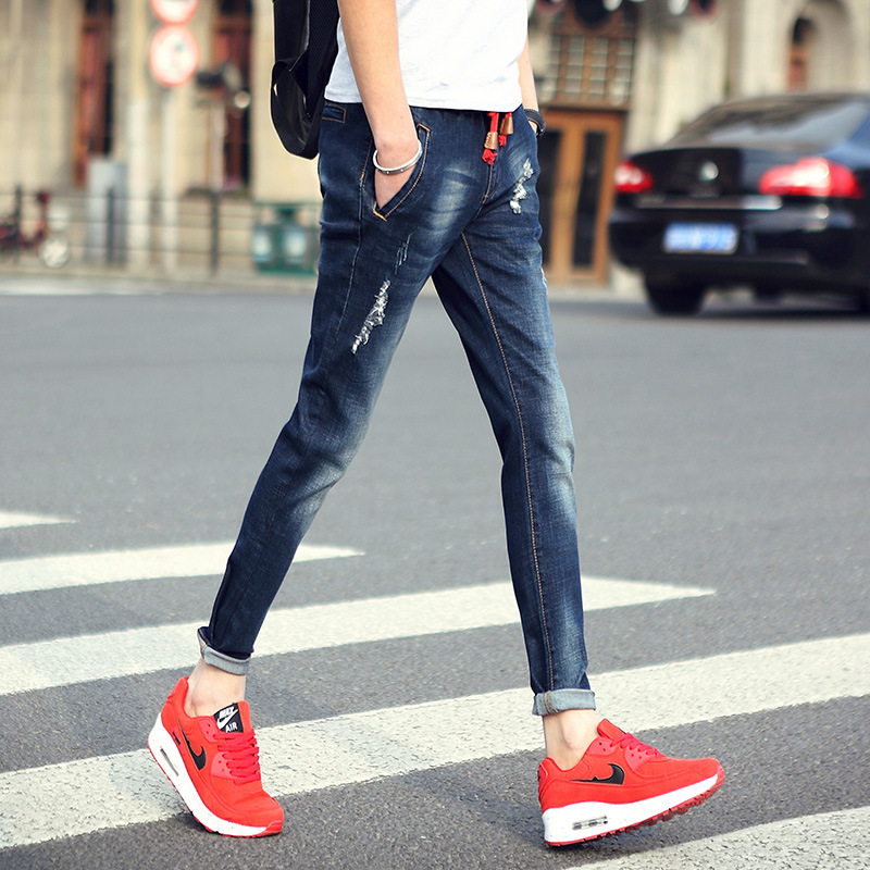 Mens jeans 2017 new fashion straight stretch skinny jeans Feet pants Male casual trousers male pants TightsОдежда и ак�е��уары<br><br><br>Aliexpress