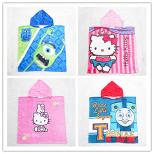 2015 New Children Thomas Monsters University Robes hooded towel Cartoon hello kitty Bathrobes kids Cloak bath towel Baby Beach