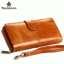ManBang 100% Oil Wax Cowhide Leather Women Wallet Phone Pocket Purse Wallet Female Card Holder Lady Clutch Carteira Feminina