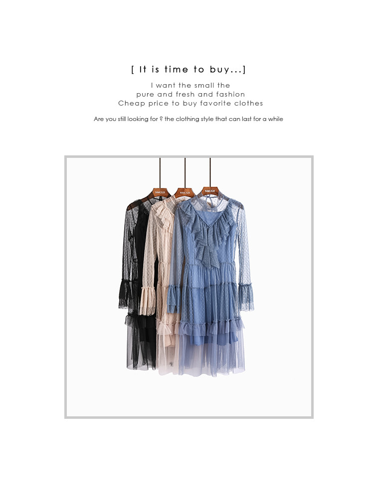 Spring New Style Women Fashion Sweet Fairy Two Piece Dress Female Sexy Perspective Lace Ruffles Dresses Woman Wholesale