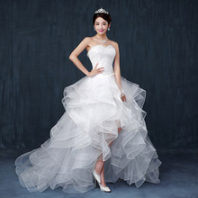 Strapless wedding dress sexy short front long back bride women lace  long train wedding dresses WED90222