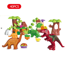 New 40pcs/set Dino Valley Building Blocks Large particles Dinosaur Paradise Animal Model toys Duplo